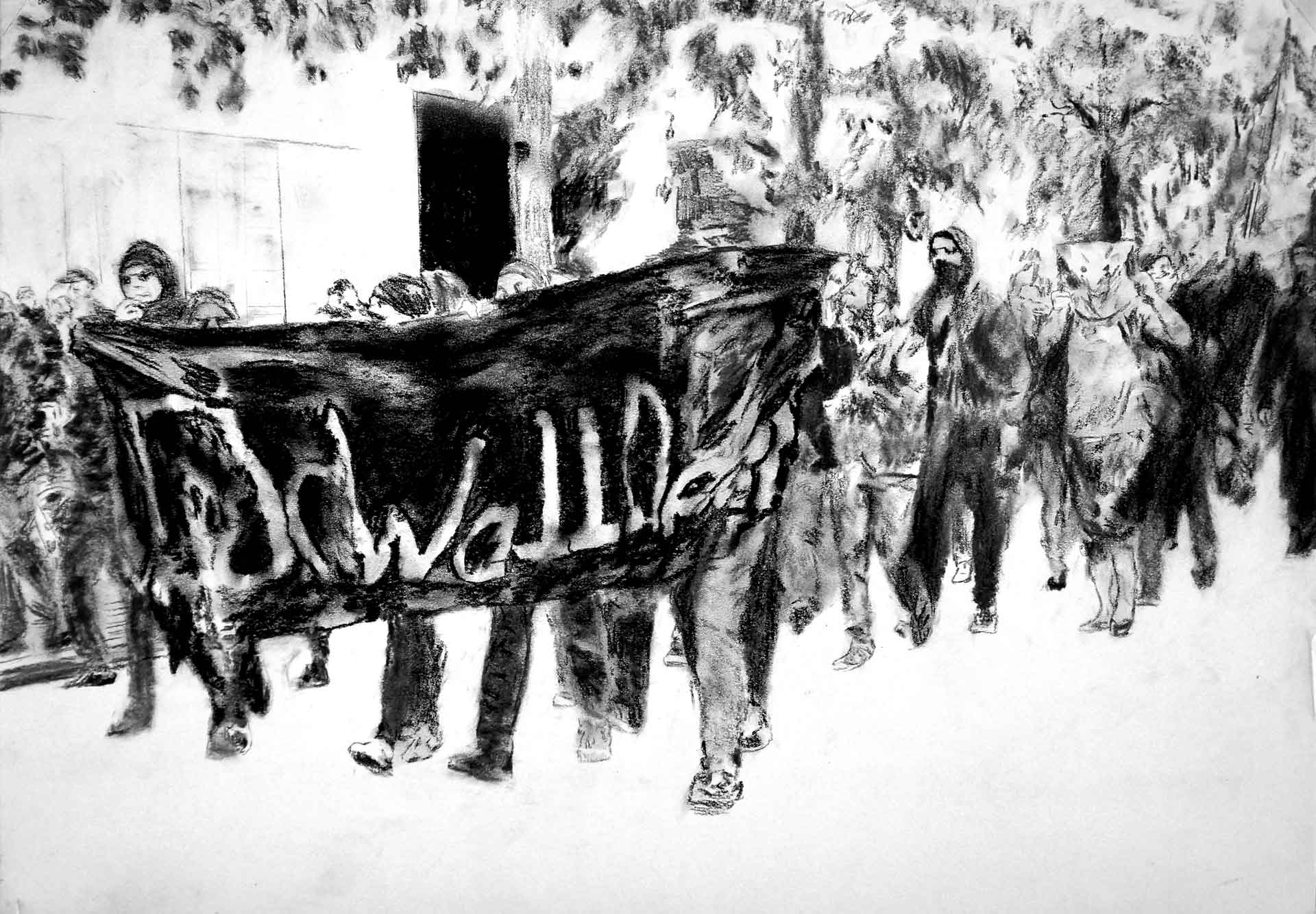 Black Bloc Protests. May Day. Berlin. Charcoal on Paper, 42 x 59.4cm., 16.5 x 23 in.