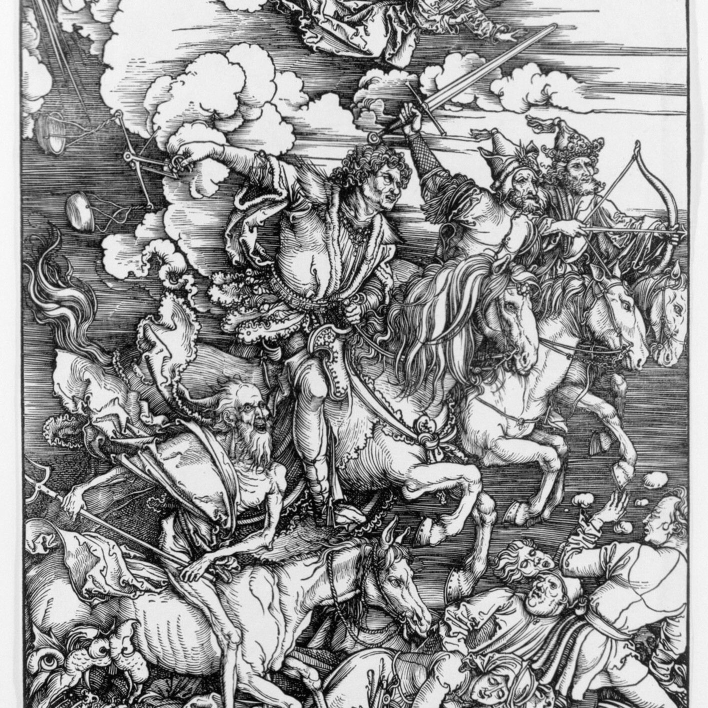 Reference Image: Romeo Alaeff, 'The End of Days,' 2007. 60 x 40 in. (152,4 x 101,6 cm.) Limited Edition Serigraph Print. Edition 10. From the series, 'War on the Brain.' Drawing depicting the Christian apocalyptic prophesies from the book of Revelations which is still used to manipulate the masses. Based loosely on prints by Albrecht Dürer and other historic texts.