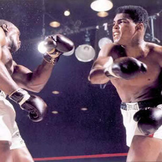 Muhammad Ali/Cassius Clay vs Sonny Liston, 1964. Reference Image for 'Stings Like a Bee.' From the series 'War on the Brain' by Romeo Alaeff.